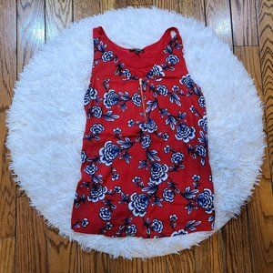 Express Women's Red Floral Tank Blouse